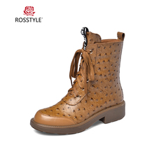 ROSSTYLE Fashion Woman Riding Ankle Boot Luxury Genuine Leather Retro Round Toe Square Heel Shoes Solid Classic Zipper Soft Boot nesimoo size 34 43 fashion zipper 2017 round toe pu leather women shoes square high heel ankle boot women motorcycle boot