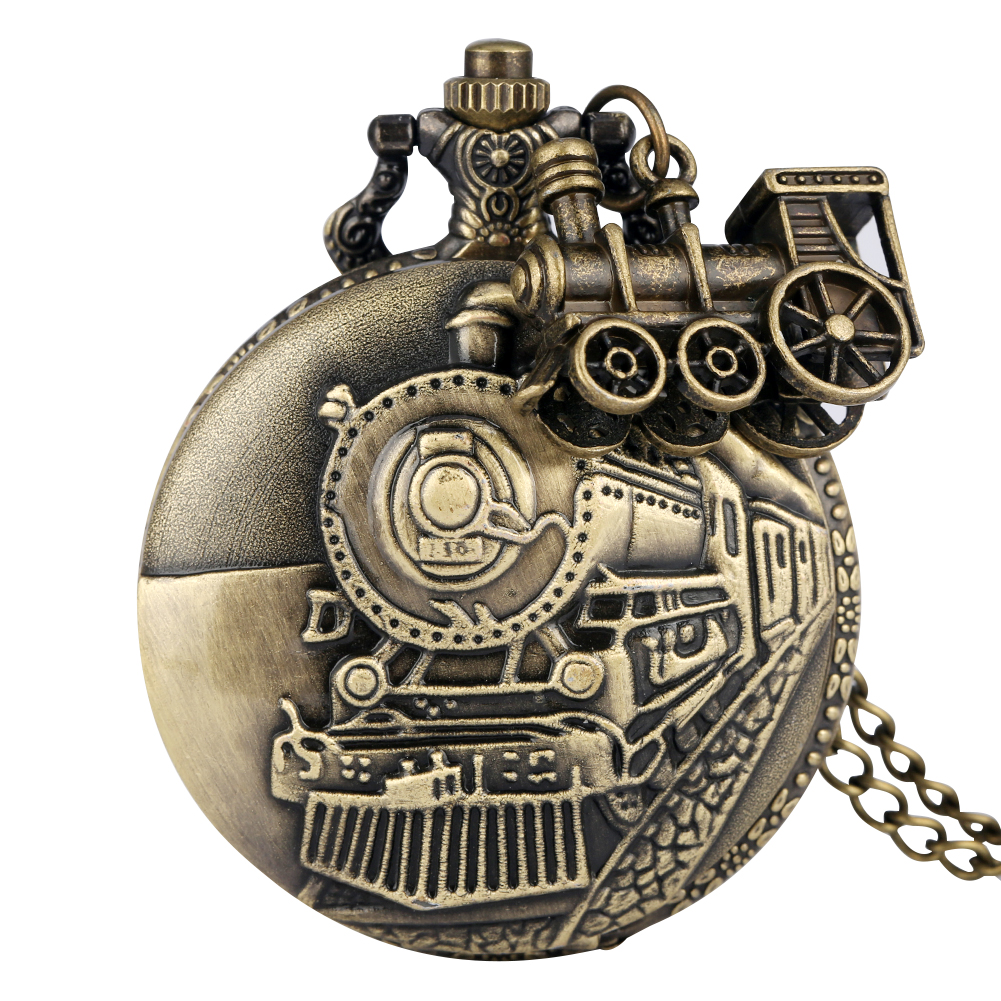 Bronze Pocket Watch For Men Classic Train Over Case Clock Utility Slim Chain Necklace Pendant Accessory Gift Relogio De Bolso