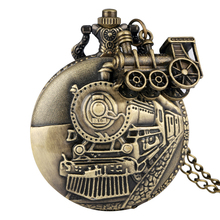 Bronze Pocket Watch for Men Classic Train Over Case Clock Utility Slim Chain Necklace Pendant Accessory Gift relogio de bolso vintage bronze mechanical pocket watch with chain hand wind pendant watch for men women father s day gift relogio de bolso