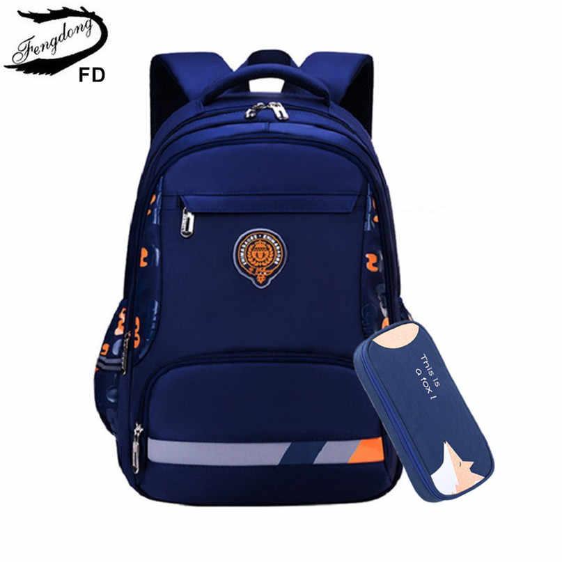 Fengdong podstawowe torby szkolne dla chłopców student plecak fluorescencyjny nieprzemakalny plecak szkolny dla dzieci piśmiennicze piórnik zestaw
