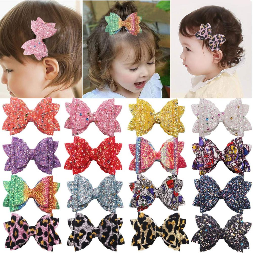 16 PCS Girl Glitter Hair Bows 3.35