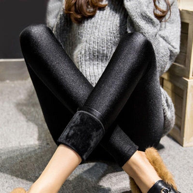 Autumn Winter Women's Leggings Outside Wear Leggings Girl's Thicker Plus Cashmere Slim Thin Warm Pants X-3xl Size Leggings