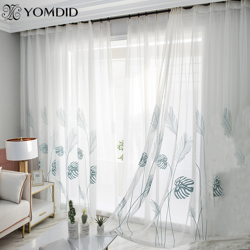White Yarn Curtain Window Tulle Curtains For Living Room Kitchen Window Treatments Voile White/Blue Palm Leaves Printed Curtain