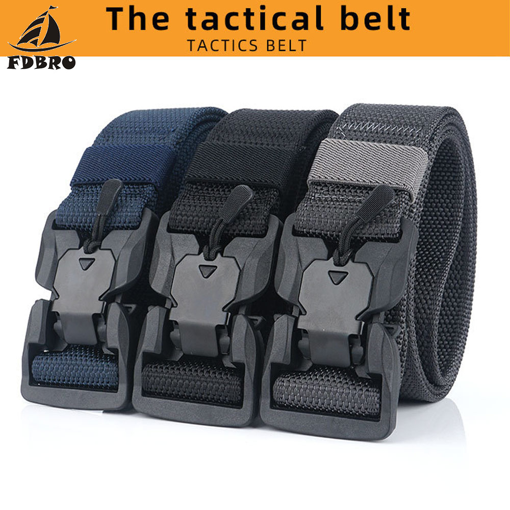 H28ce36c53f344d1c988106c4f6381128i - FDBRO Tactical Belt  Magnetic Buckle Adjustable Nylon Military Belt for Man Outdoor Hunting Training Accessories Utility Belt