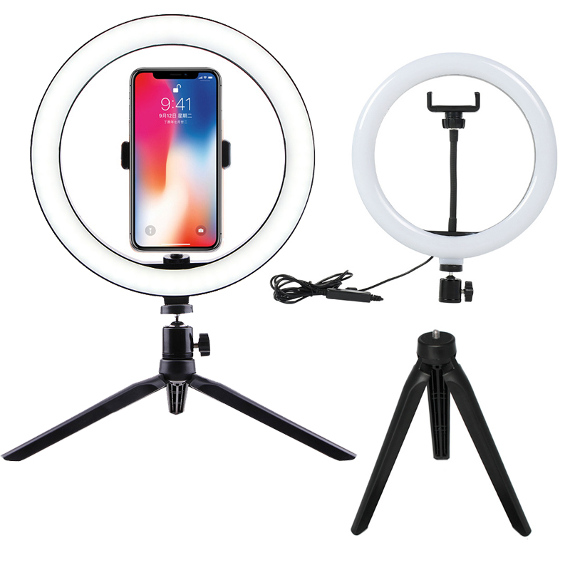 10inch Dimmable LED Selfie Ring Light Studio Photography Photo Fill Ring Light with Tripod for iphone Smartphone Studio Makeup