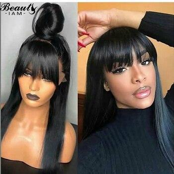 Pelucas de cabello humano con Base de seda recta negra con cierre de encaje 4x4 y flequillo para mujeres, nudo blanqueado sin pegamento Pre desplumado con pelo de bebé
