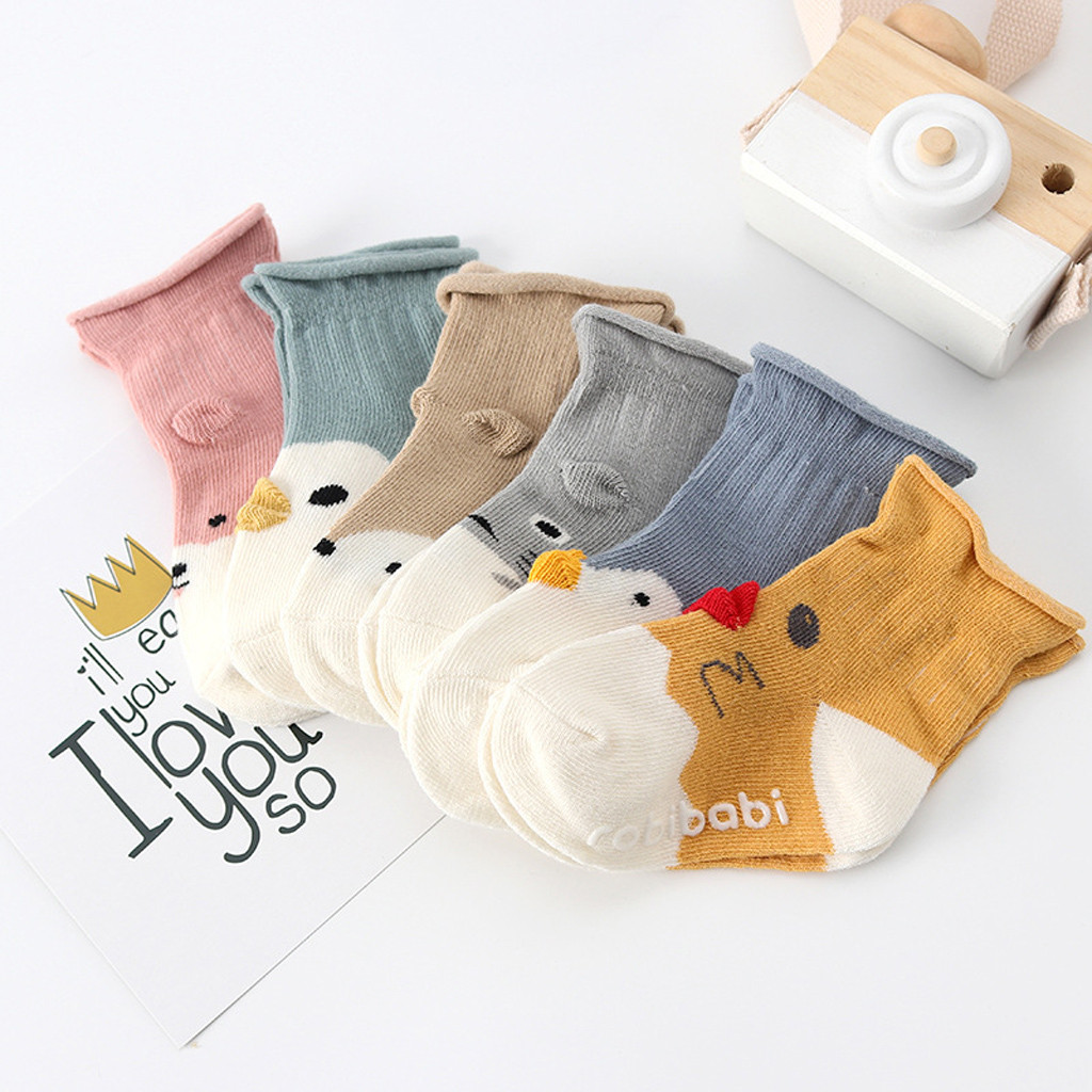 Baby Socks Newborn Kids Infant Boys Girls Cartoon Animals Anti-Slip Cotton Knitted Warm Socks With Rubber Soles L1105