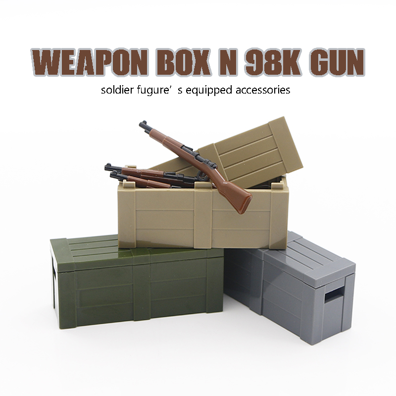 Military Weapon Box Building Blocks Printed 98K Gun Chest Case Soldier Accessories Bricks Toys Compatible LegoINGlys Army WW2