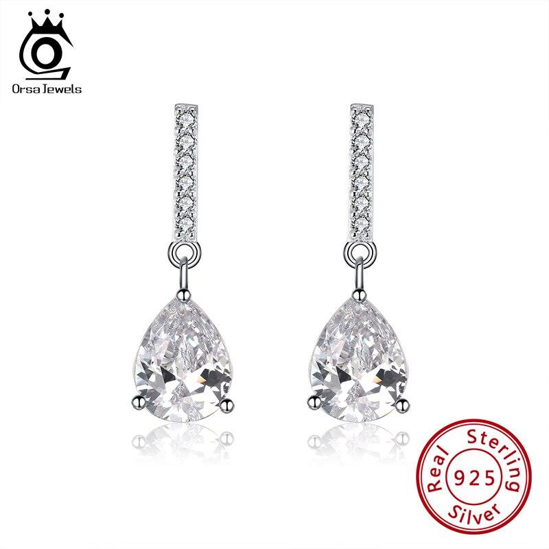 ORSA JEWELS Newest Women Water Drop Earrings Solid 925 Silver Clear AAAA CZ 25mm Long Dangle Earrings Fine Party Jewelry SE289