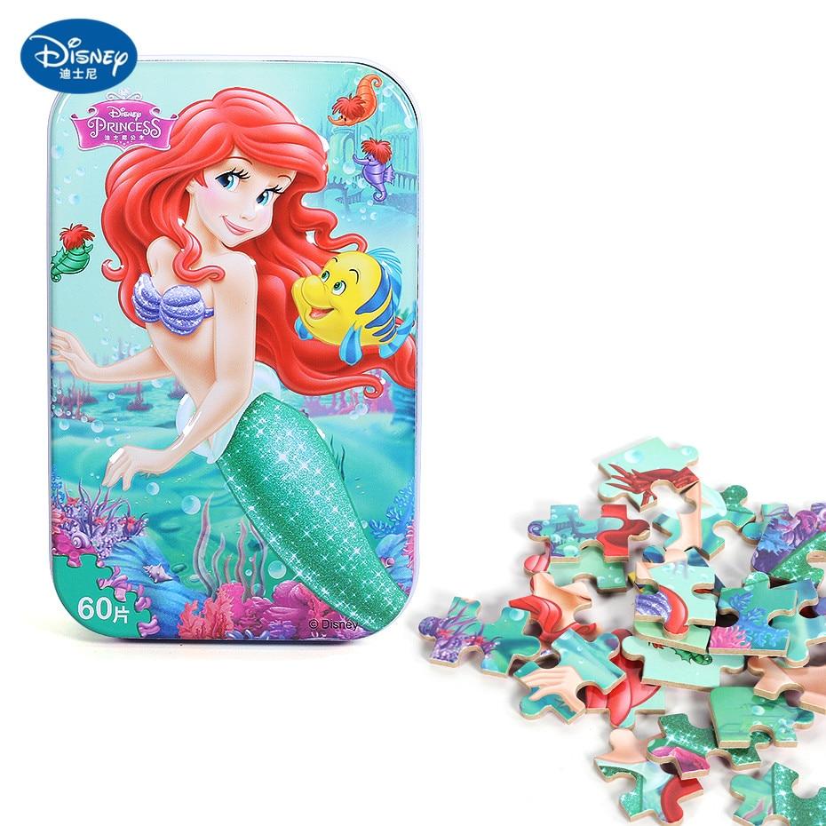 Disney 60 Piece Princess Frozen Wooden Box Puzzle Early Education Children Bottom Box Puzzle Birthday Toys Intelligence Puzzle 3
