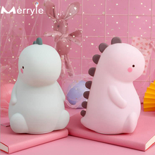 Silicone Cartoon Led Night Light USB Recharge Dinosaur Night Lamp Battery Power for Baby Gift Child Christmas Present Home Decor