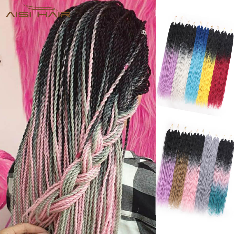 I's A Wig Ombre Senegalese Twist Synthetic Braiding Hair 24inch Crochet Braids Hair Extensions Brown Pink Grey Women Hair