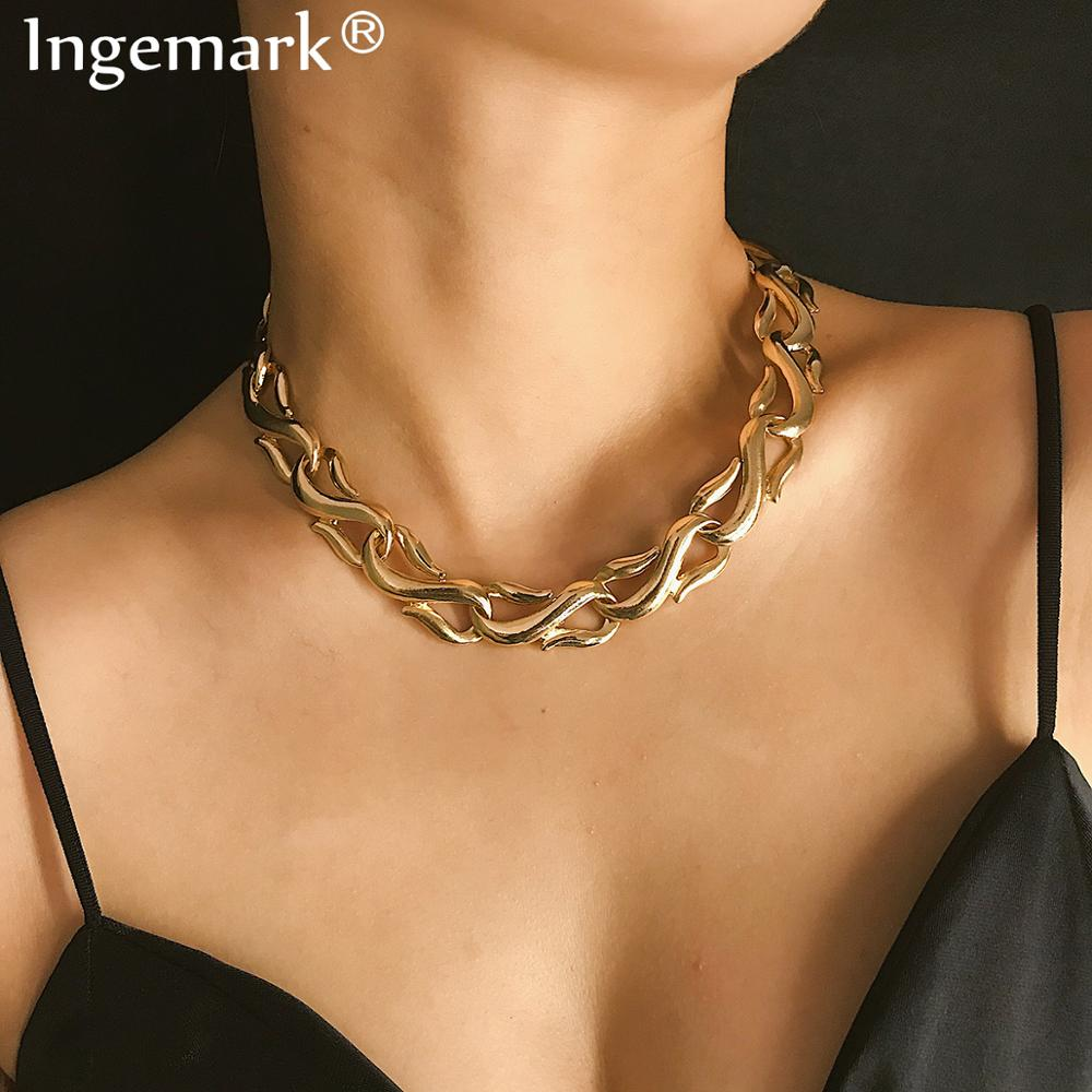 Ингемарк панк Майами кубинское колье ожерелье воротник массивное хип хоп тяжелое металлическое алюминиевое толстое Женская цепочка ожерелье цепочка подарок|Ожерелья-цепочки| | - AliExpress
