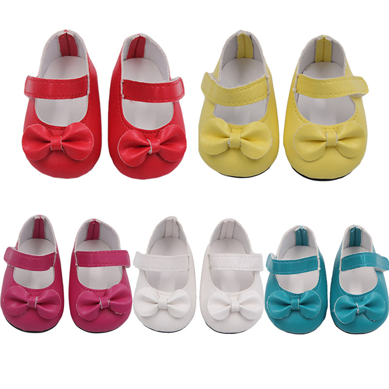 PU Girls Dolls Shoes Bow Dress Shoes For 18 Inch Our Generation American Doll New Born Accessories Baby Toys Fit 43 Cm Gift