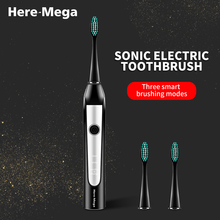 HERE MEGA Sonic Electric Toothbrush Strong Cleaning Whitening Toothbrush USB Charging DuPont brush 3 Adjustable Brushing Mode sonic electric toothbrush strong cleaning whitening toothbrush usb charging dupont brush 3 adjustable brushing mode