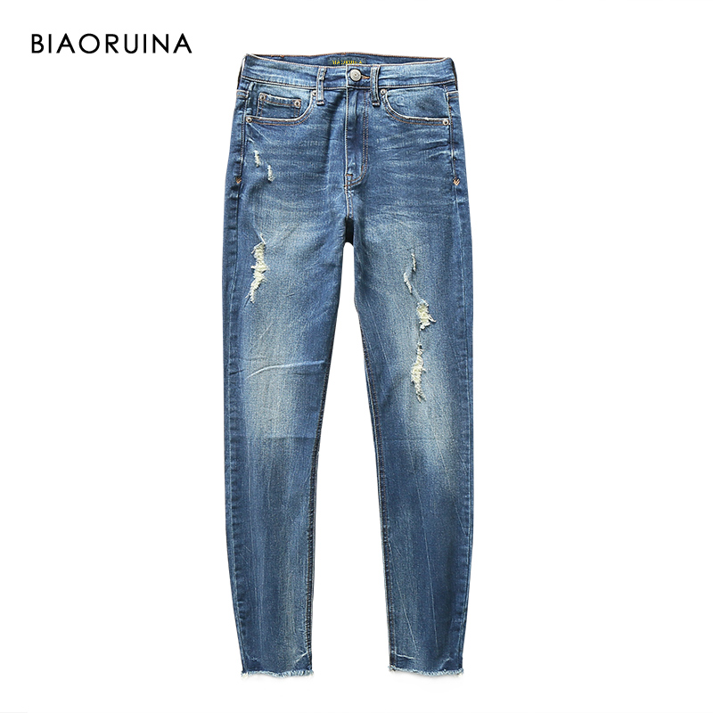 BIAORUINA Women's Casual Washing Bleached Denim Jeans Tassels Female Holes Scratches Fashion Pencil Jeans New Arrival