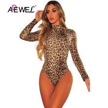 ADEWEL Print Mock Neck Jumpsuit Long Sleeves Bodysuit Sexy Leopard Print Bodysuit Plus Size One Piece Bodysuit Women Clothes Top