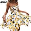 Aproms Yellow Fruit Floral Print Short Dress Summer Ruffle Off Shoulder Dresses Women Casual Beach Sleeveless Tube Sundress 2020