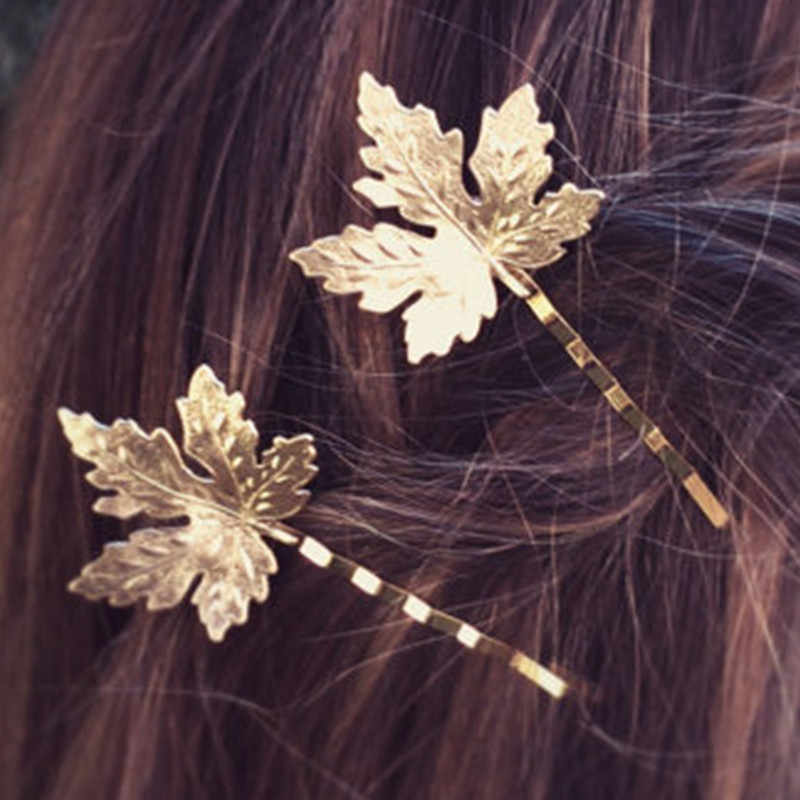 Kreatif Maple Daun Bentuk Wanita Wanita Gadis Rambut Klip Halus Rambut Pin Rambut Jepit Rambut Aksesoris Dekorasi Kecil