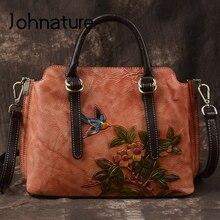 Johnature Handmade Embossing Genuine Leather Retro Luxury Handbags 2020 New Leisure Large Capacity Shoulder & Crossbody Bags