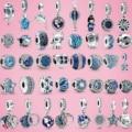 2020 горячая Распродажа серебряные бусины 925 пробы небесно-голубой и сверкающими звездами, подрходит к оригиналу Pandora, браслет серебро 925 ювел...