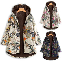 Cotton and Linen Jacket Women Vintage Leaves Floral Printed Pockets Button Hooded Coats Outwear Oversize Chaquetas mujer 2019@45(China)