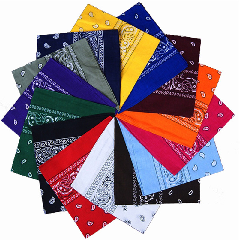 54*54cm Square Men Women Fashion Print Bandana Cotton Paisley Head Wrap Neck Scarf Wristband Handkerchief Pocket Towel Headband