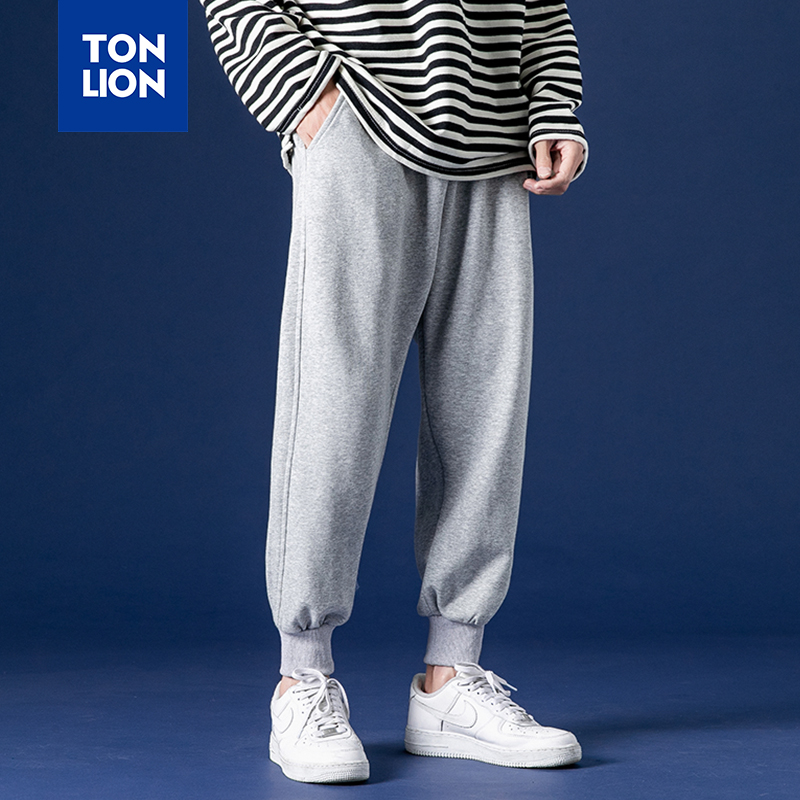 TONLION Mens Black Sweatpants Fashion Full Lengt Elastic Waist Pants Men Sport Light Gray Elastic Ankle Trousers 2020 Spring New