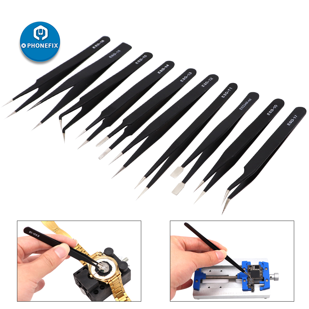 10Pcs ESD Tweezers Set Precision Industrial Tweezers Antistatic Stainless Steel Nipper Electronics Tool Kit For Soldering Repair
