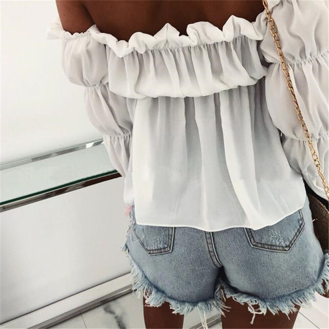 Blusa de chifón plisada con hombros descubiertos para mujer, camisa Sexy elegante de Color liso para oficina y calle, 2021 2