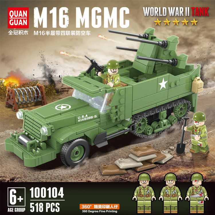 Military WW2 M16 Half Track Vehicle Building Blocks 518pcs Model Set Military Armored Truck Bricks Army Soldiers Toy for Boys