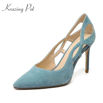 Krazing pot limited kid suede hollow pointed toe high heels gentlewomen shallow slip on young lady high fashion summer pumps L13