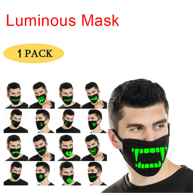 2020 Reusable Luminous Funny Expression Cotton Anti Dust Mouth Face Mask For Black Kpop Unisex Face Mouth Muffle Mask Fashion
