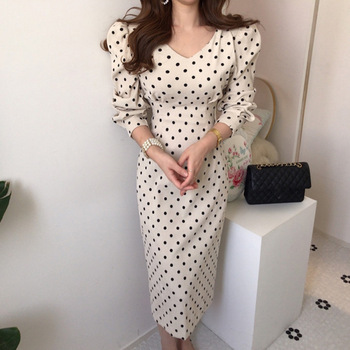 French Style Spring Autumn Women Casual Polka Dot Print A-Line Party Corduroy Dresses Elegant Lace-Up Slim  Fashion