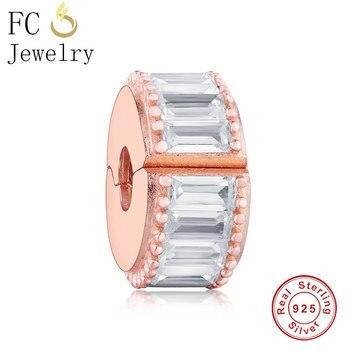FC Jewelry Fit, pulsera con abalorio de marca Original, Color dorado y plateado 925, espaciador de cristal austriaco, Clip Stopper Bead Berloque