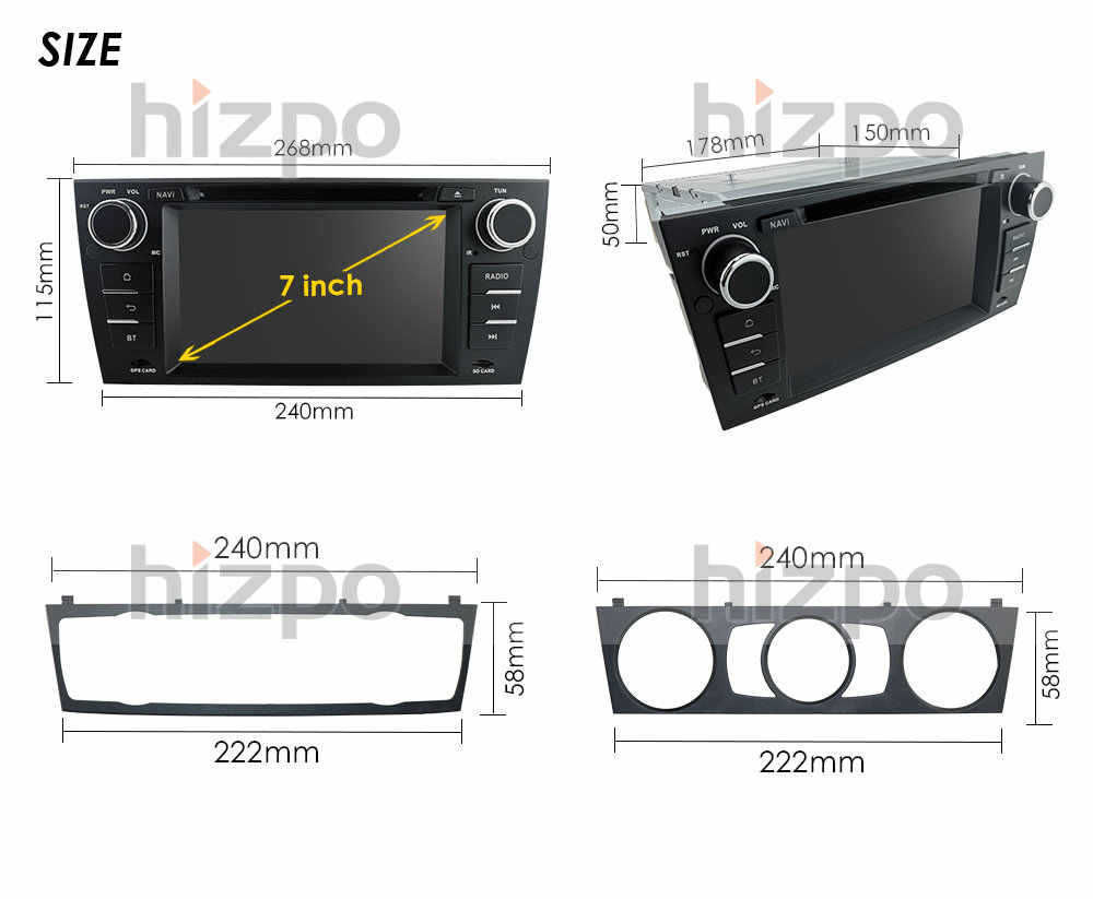 """車のマルチメディアプレーヤー BMW E90 E91 E92 E93 ステレオヘッドユニット 7 """"カー Dvd プレーヤーの Gps 土ナビゲーションバーラジオ BT USB RDS AM/FM SWC DAB + DVBT"""