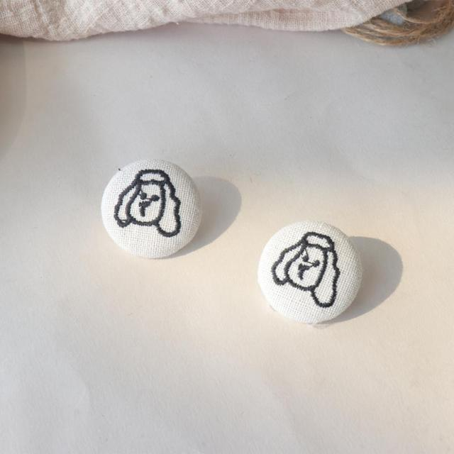 Fashion Round Dog Patterned Stud Earrings