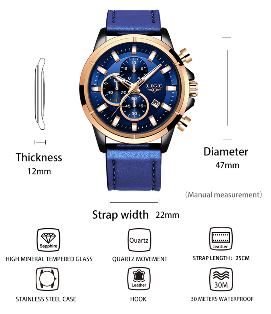 H28d00d0879ba4c27aaf13380b454e15aF LIGE Casual Sports Watches For Men Blue Top Brand Luxury Military Leather Wrist Watch Man Clock Fashion Chronograph Wristwatch