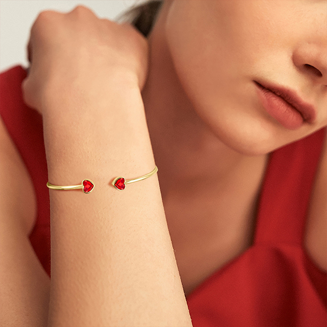 Cdyle Mini Red Heart Crystal Bangles & Bracelets Open Bijoux for Women Girl Birthday Gift Gold Color Cuff Bracelet Jewelry