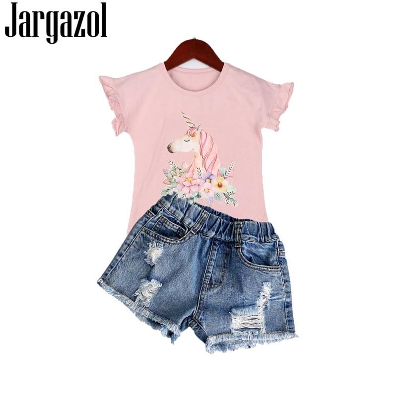 Summer Kids Clothes Unicorn Printed Flying Short Sleeve Shirt&broken Hole Denim Shorts Little Girls Costume Children Outfits