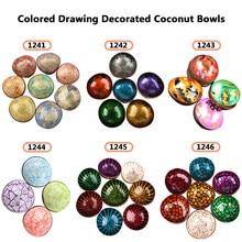 Artesanato decorado tigela de coco desenho colorido tigela de armazenamento tigela de coco orgânico casca de coco artesanato diversos tigela melhor presente