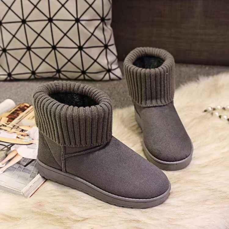 2019 inverno quente neve tornozelo botas flat bottom redondo dedo do pé das mulheres plana neve antiderrapante pele das mulheres meias de inverno botas mulher