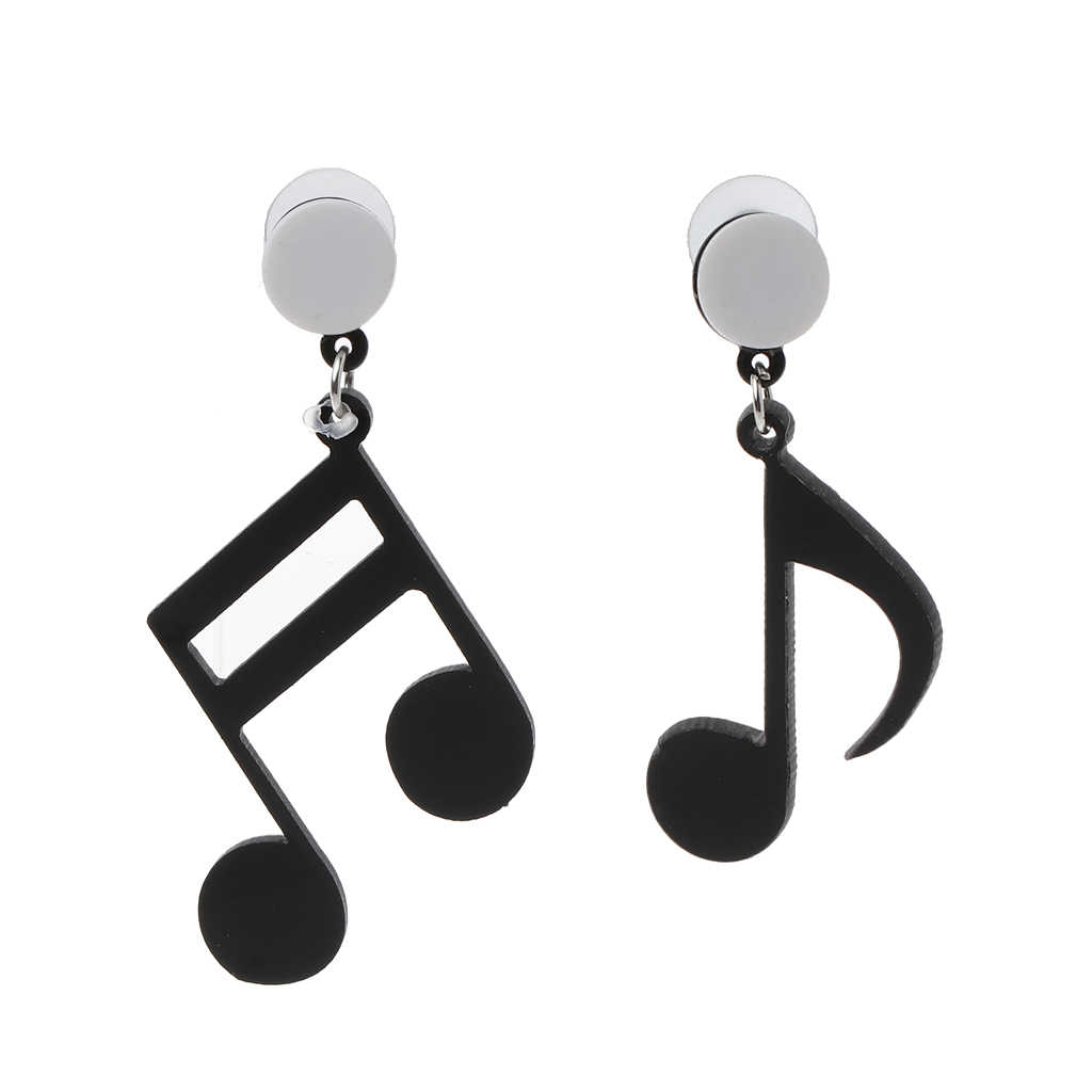 Negro Musical Note mujeres chicas asimétrica acrílico gota pendientes joyería de moda