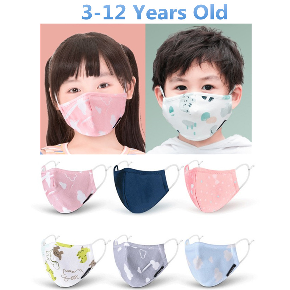 PM2.5 Boy Girl Cotton Kid Mask Reusable Children's Mouth Mask 4 Layers Face Mask Dust Pollution Proof Mask Filter Mask