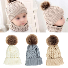 2PCS Soft Autumn Winter Baby Kids Daily Knitted Striped Warm Cute Woolen Yarn Neckerchief Gift Hat Scarf Set Unisex Outfit