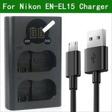 Chargeur de batterie double USB EN-EL15 EL15 MH-25 MH-25a, pour Nikon D800E D810A D7000 D7100 D7200 D7500 Z6 Z7