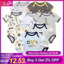 Vêtements pour bébés, 8 pièces/lot, barboteuses unisexe pour nouveau né et fille, barboteuses en coton pour tout petits, combinaison à manches courtes, vêtements pour bébés