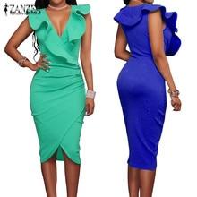 ZANZEA 2020 Women Summer Dress Sexy Sleeveless V Neck Pencil Party Dresses Ladies Ruffles Bodycon Slim