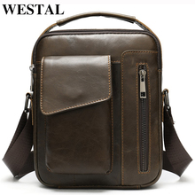 WESTAL mens shoulder bag for men genuine leather bag casual crossbody bags top handle handbags small messenger bags male 8211