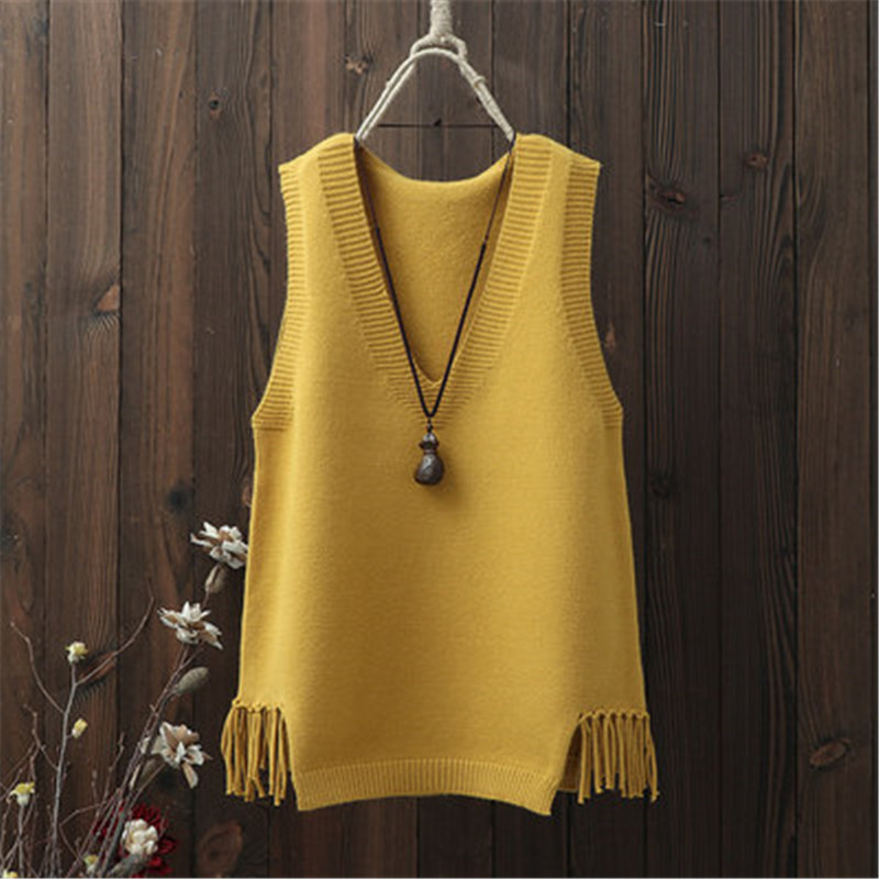 2020 Autumn Winter Solid Sweaters Women Sleeveless Tassel V Neck Casual Vest Korean Knitted All Match Pullovers PZ2656 on AliExpress